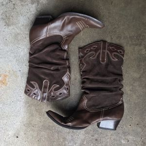 Rampage 'Rodina' Brown Western Ruched Boots